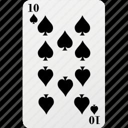 card, hazard, palying card, poker, spad, ten icon
