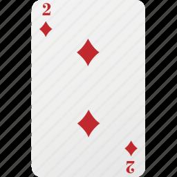 card, diamond, hazard, palying card, poker, two icon
