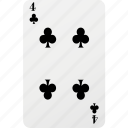 card, club, four, hazard, playing card, poker icon