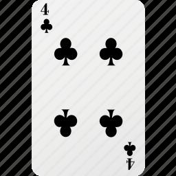 card, club, four, hazard, playing card, poker icon