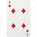 card, diamond, four, hazard, playing cards, poker icon