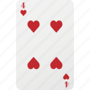 card, four, hazard, heart, playng card, poker icon