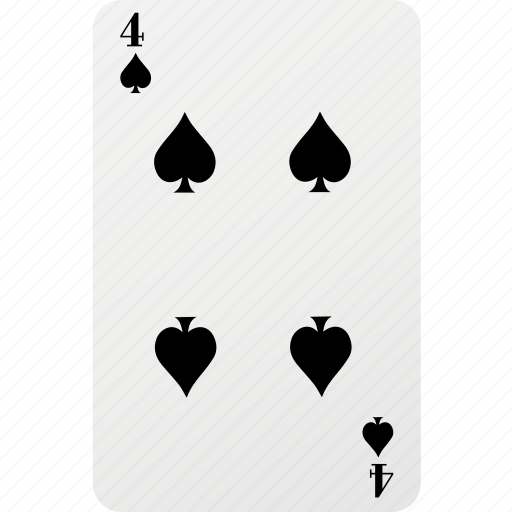 card, four, hazard, playing card, poker, spad icon