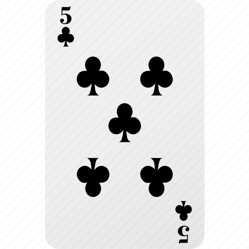 card, club, five, hazard, playing card, poker icon