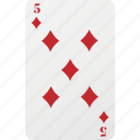 playing card, poker, diamond, five, card