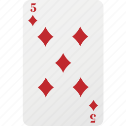 card, diamond, five, playing card, poker icon