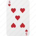 card, five, heart, playing card, poker icon