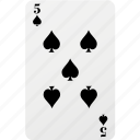 card, five, hazard, playing card, poker, spad icon