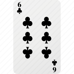 card, club, hazard, playing cards, poker, six icon