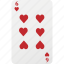 heart, poker, six, playing cards, hazard, card