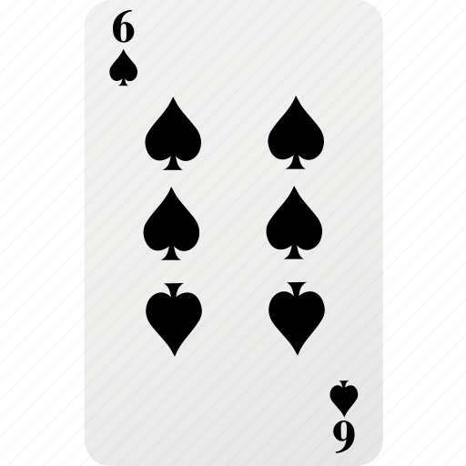 card, hazard, playing cards, poker, six, spad icon