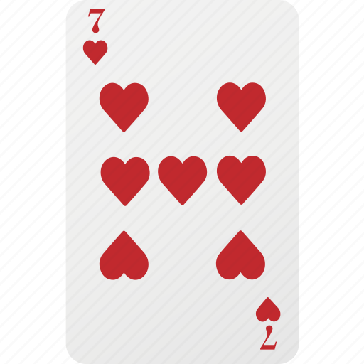 card, hazard, heart, playing cards, poker, seven icon
