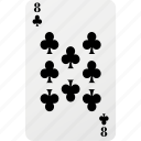 card, club, eight, hazard, playing cards, poker icon