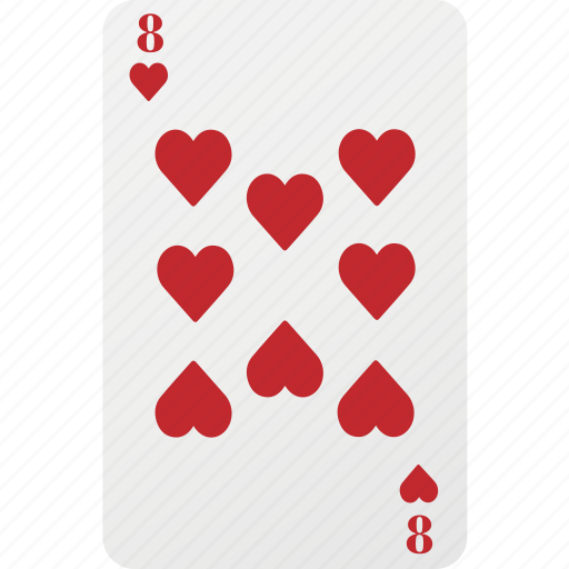 card, eight, hazard, heart, playing cards, poker icon