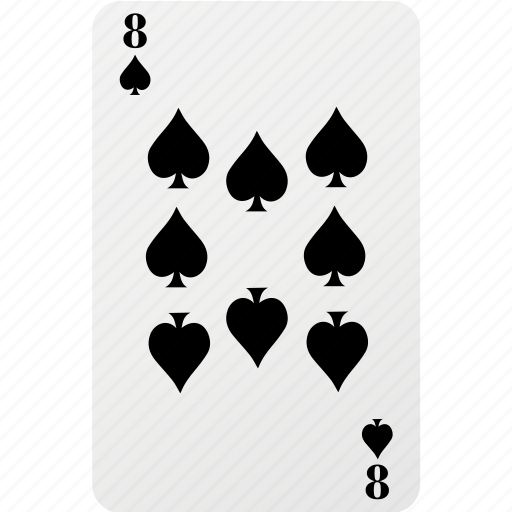 card, hazard, playing cards, poker, spad eight icon
