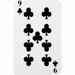 card, club, hazard, nine, playing cards, poker icon