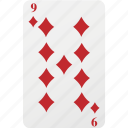 card, diamond, hazard, nine, playing card, poker icon
