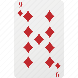 card, diamond, hazard, nine, playing card, poker icon