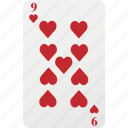 card, hazard, heart, nine, playing card, poker icon