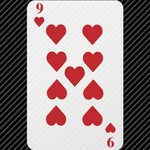 card, hazard, heart, nine, playing card, poker icon