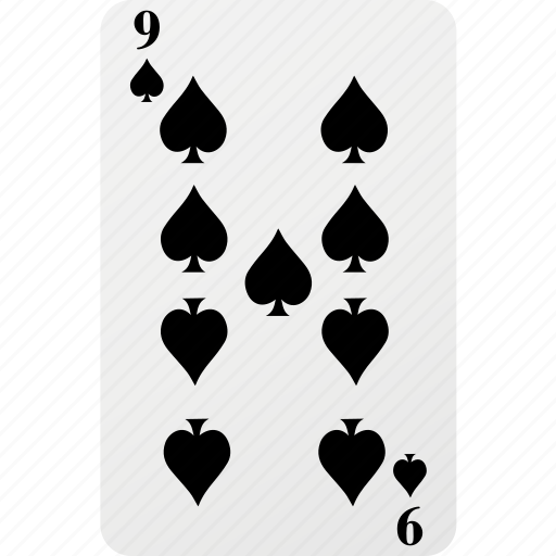 card, hazard, nine, playing cards, poker, spad icon