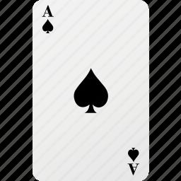 ace, card, hazard, playing card, poker, spad icon