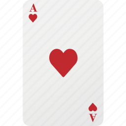 ace, card, hazard, heart, playing card, poker icon