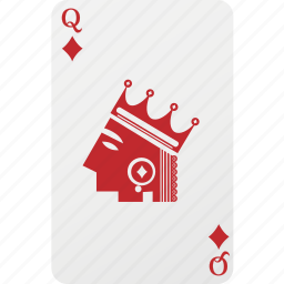 card, diamond, hazard, playing cards, poker, queen icon