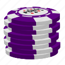 poker, purple poker chips, stack icon