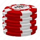 poker, red poker chips, stack icon