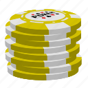 poker, stack, yellow poker chips icon