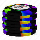 color chips, poker, stack icon