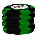 green chips, poker, stack icon