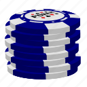 blue poker chips, poker, stack icon