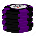 poker, purple chips, stack icon