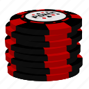 poker, red chips, stack icon