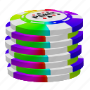 color poker chips, poker, stack icon