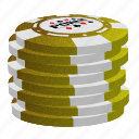 gold poker chips, poker, stack icon