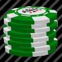 green poker chips, poker, stack icon