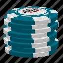 light blue poker chips, poker, stack icon