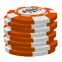 orange poker chips, poker, stack icon