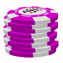 pink poker chips, poker, stack icon