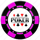 chip, pink poker chip, poker icon