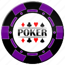 chip, poker, purple poker chip icon