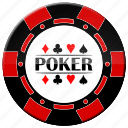 chip, poker, red poker chip icon