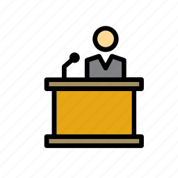 court, justice, lectern, man, reading, stand icon