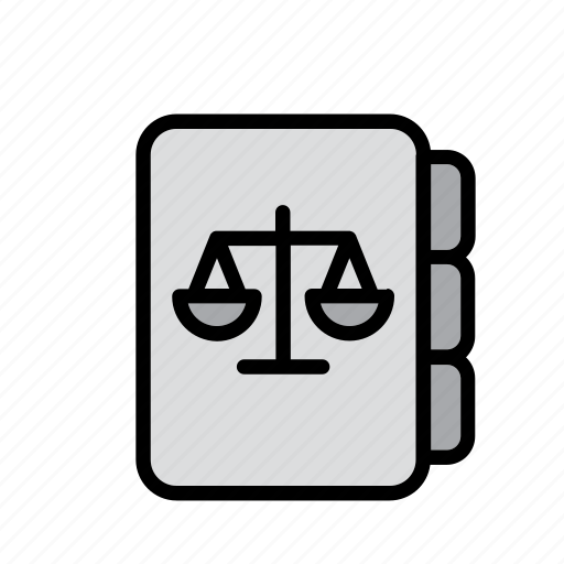 book, justice, law, legislation, notebook, scale, scales icon