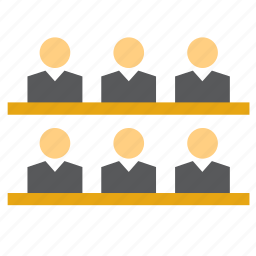audience, court, jury, justice, law, people, trial icon