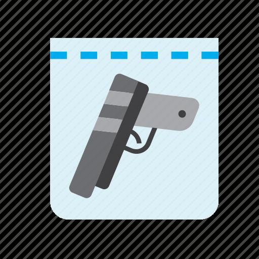 crime, evidence, gun, handgun, justice, plastic bag, police icon