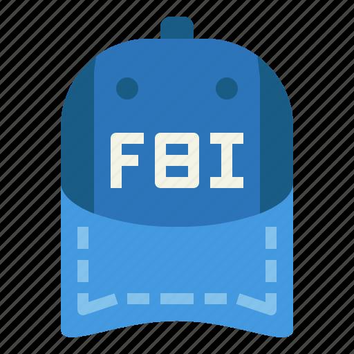 cap, fbi, hat icon